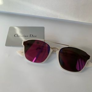 DIOR Abstract Square Mirrored Sunglasses White